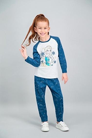Frozen Karlar Ülkesi - Frozen Lisanslı Açık Pembe Kız Çocuk Pijama Takımı Gri